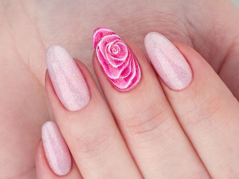 Idee Nail Art - Kateryna Bandrovska: Rosa glitterata