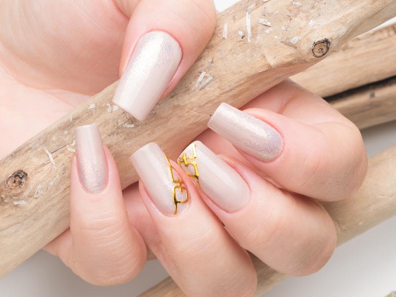 corso ricostruzione unghie semplice nude monocolore illuminato da riflessi argento e dal disegno di una piccola catena dorata eseguito da gioia del zotto