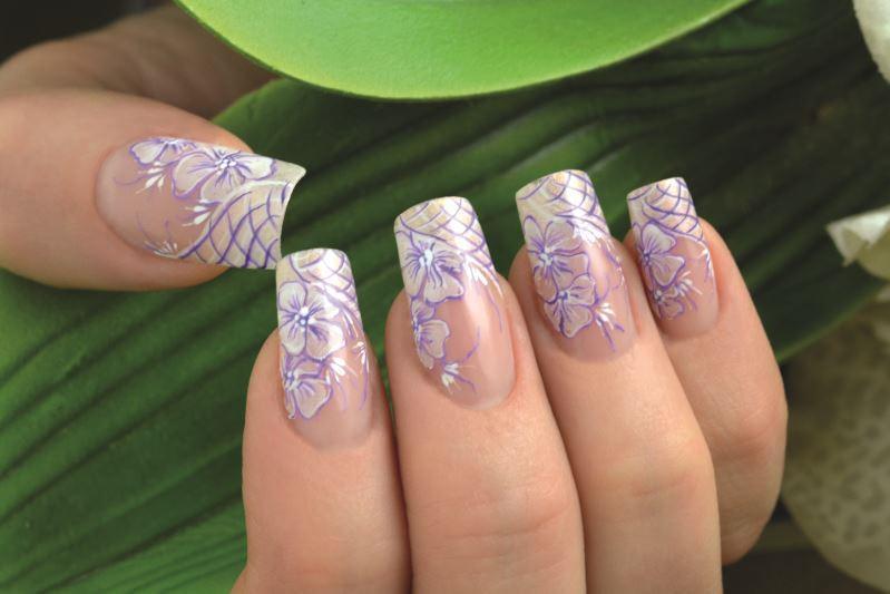 julka bedeschi fiori leggeri e sottolineati da tratti sottili viola